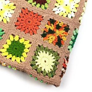 Vintage | Granny Square Afghan Throw Blanket Boho